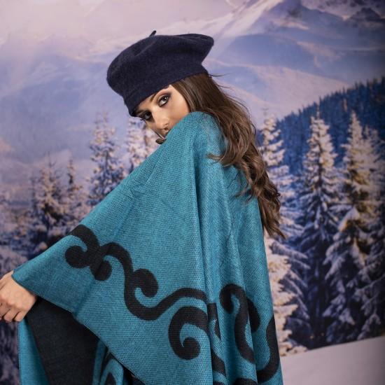 Дамски двулицев зимен шал тип пончо в светлосиньо