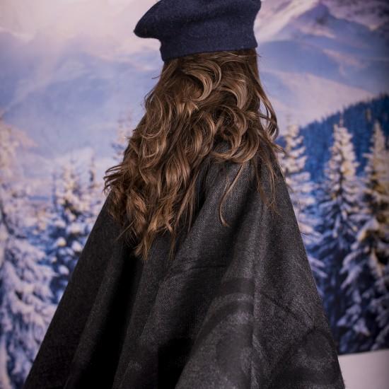 Дамски двулицев зимен шал тип пончо в тъмносиво