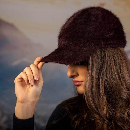 Дамска ангора шапка с козирка в бордо