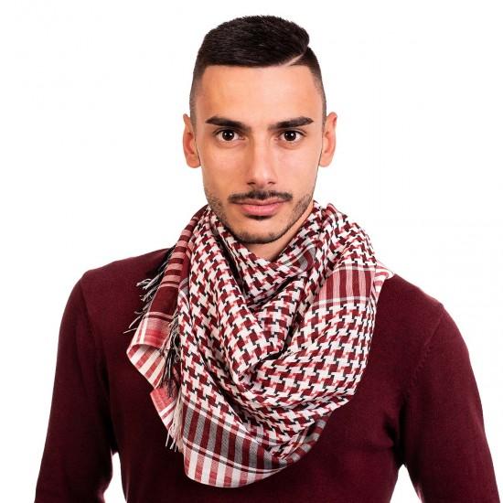 Мъжки шал в червено, бяло и черно