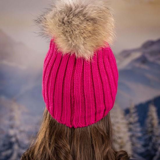 Дамска зимна шапка с помпон енот циклама