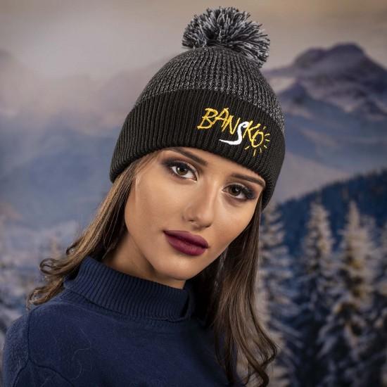 Дамска зимна шапка с надпис Банско