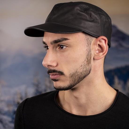 Мъжка шапка от телешки бокс тъмнокафява