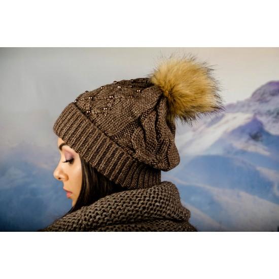 Дамски зимен комплект кафяв
