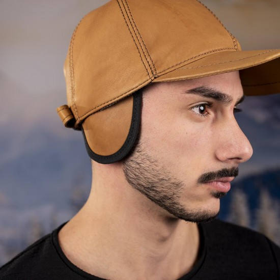 Мъжка зимна шапка с козирка светлокафява