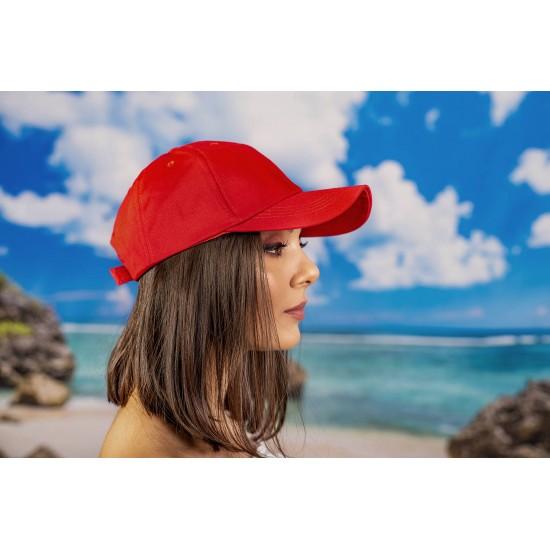 Червена изчистена  шапка с козирка памук