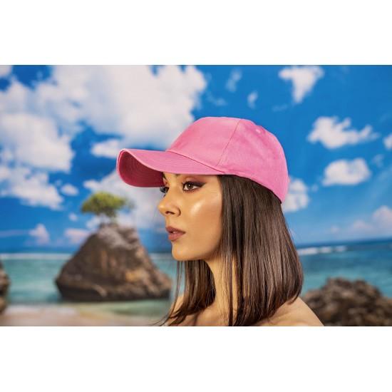 Розова изчистена  шапка с козирка