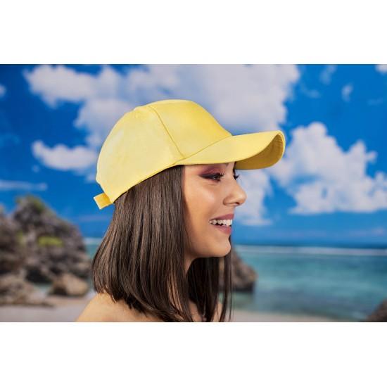 Жълта изчистена  шапка с козирка