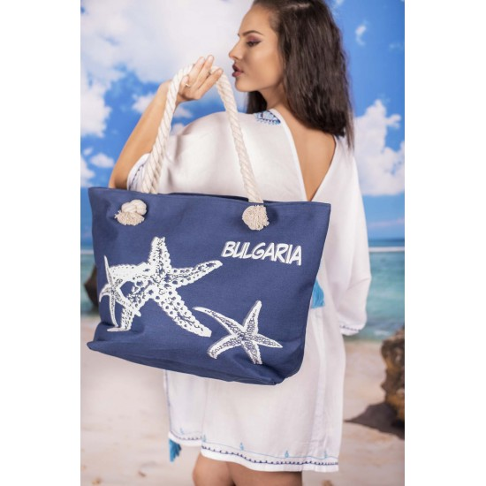 Синя плажна чанта с цип