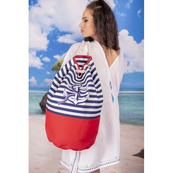 Плажна чанта в червено райе