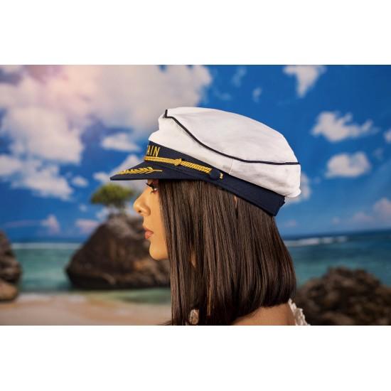 Дамска моряшка шапка с надпис CAPTAIN