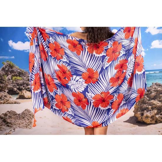 Плажен шал на цветя