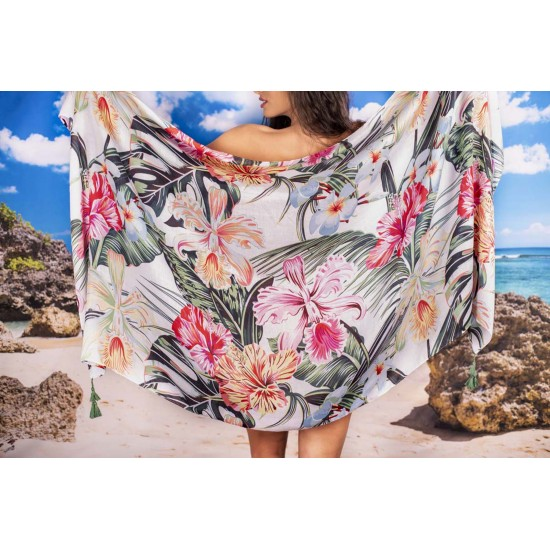 Плажен шал с тропически цветя