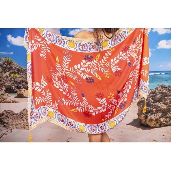 Плажен шал в оранжеви нюанси