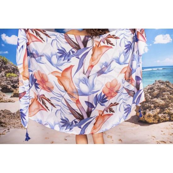 Плажен шал в нежни цветове