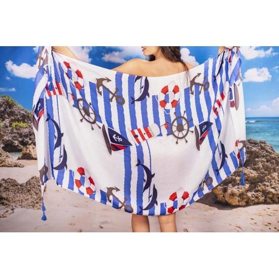 Плажен шал с морски дизайн