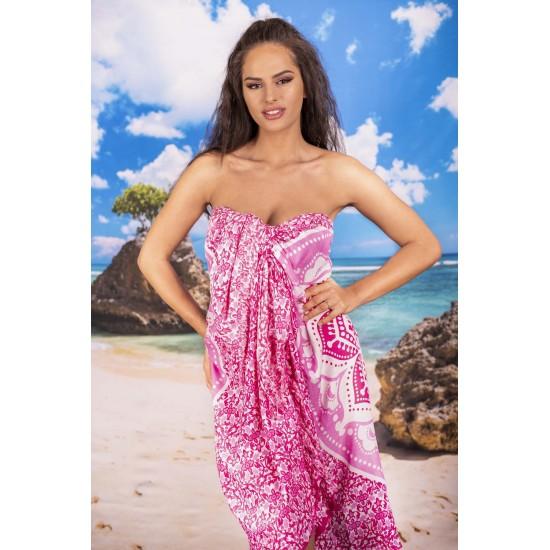 Плажен шал с мандала в розово