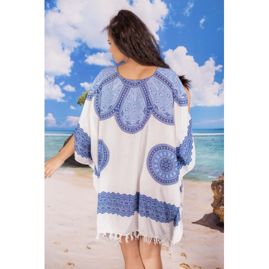 Плажна туника с орнаменти в синьо