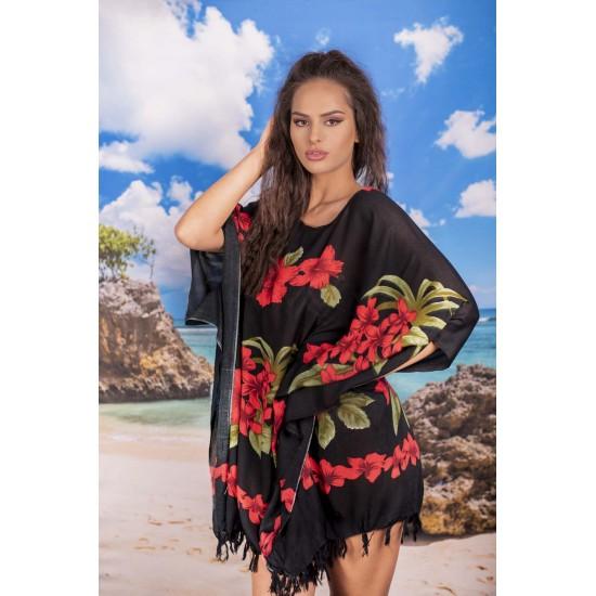 Плажна туника в черно с червени цветя