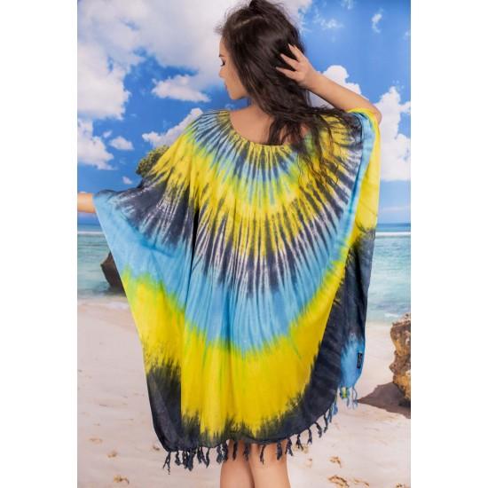 Плажна туника в жълто, сиво и синьо