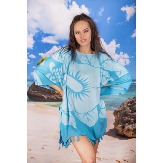 Плажна туника в синьо с цветя