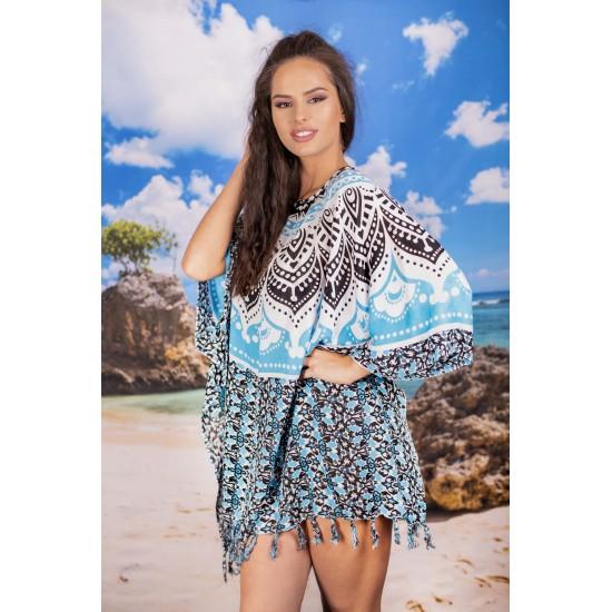 Плажна туника в синьо и черно с орнаменти
