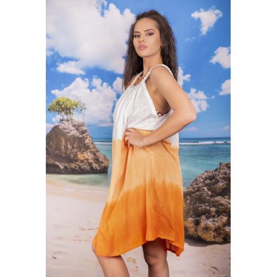 Плажна рокля в бяло и оранжево
