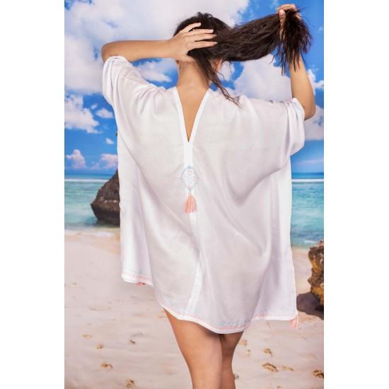 Плажна туника в бяло с пискюли