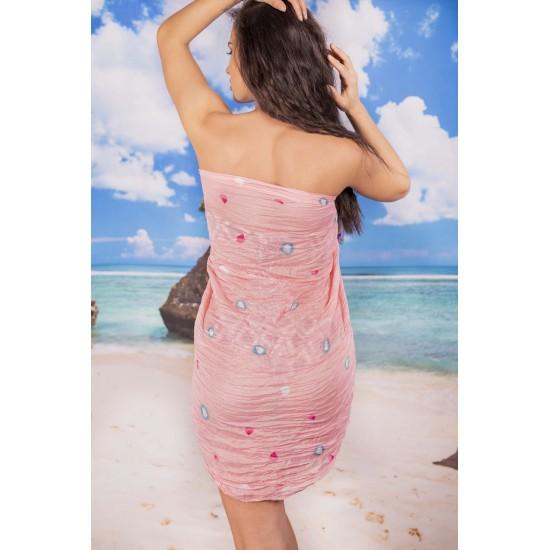 Ефирен плажен шал в бледорозово