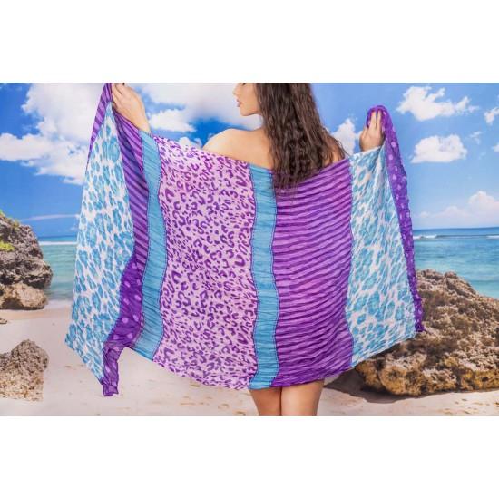 Ефирен плажен шал в лилаво и синьо