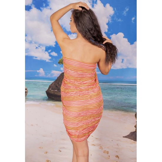 Ефирен плажен шал в цвят корал