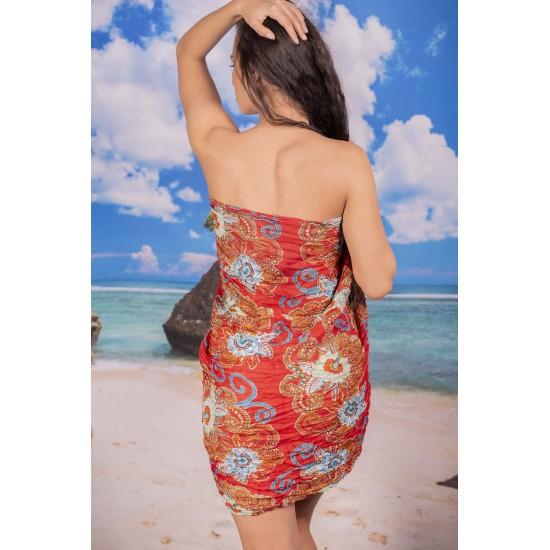 Ефирен плажен шал в червено на цветя