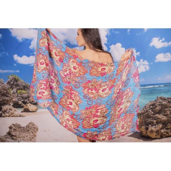 Ефирен плажен шал в светлосиньо на цветя
