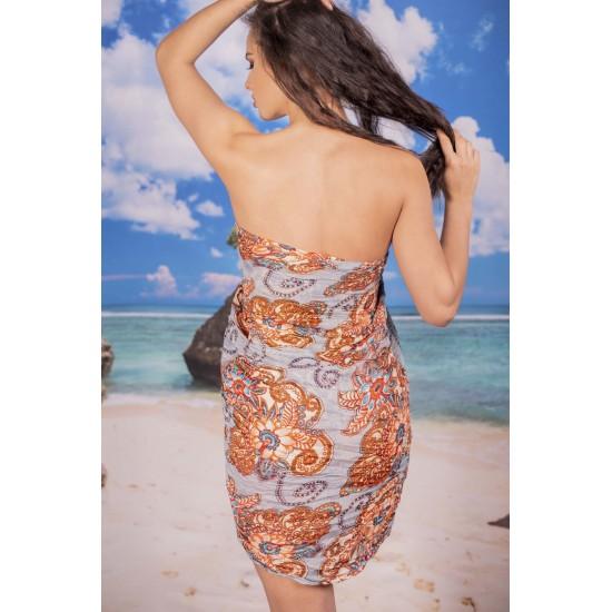 Ефирен плажен шал в светлосиво на цветя