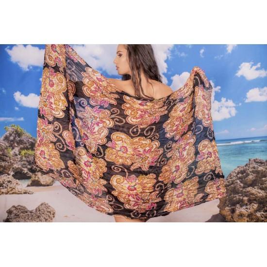 Ефирен плажен шал в черно на цветя