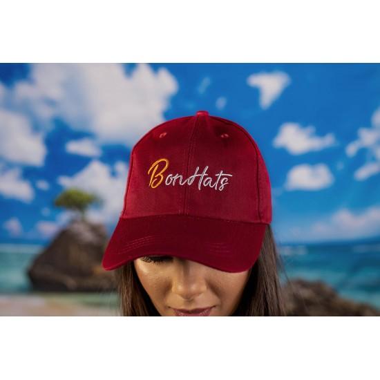 Дамска шапка с козирка в червено