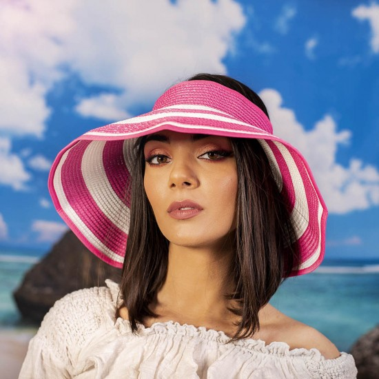 Лятна дамска козирка в бяло и розово
