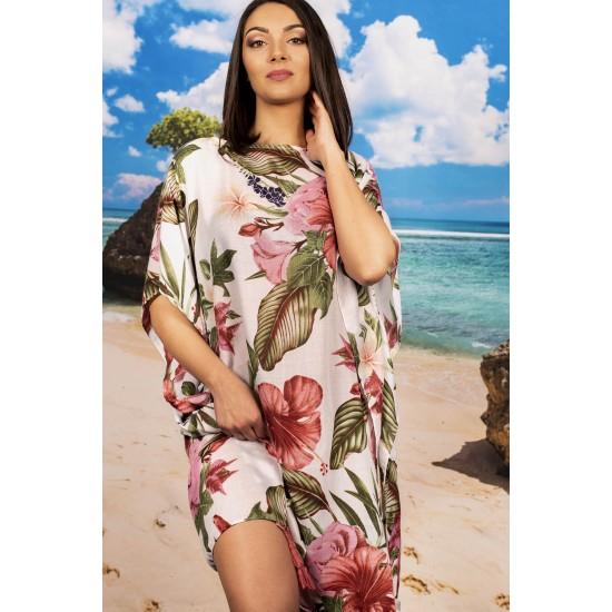 Плажна туника в тропически цветя
