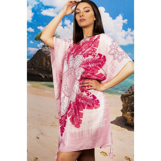 Плажна туника в розови нюанси