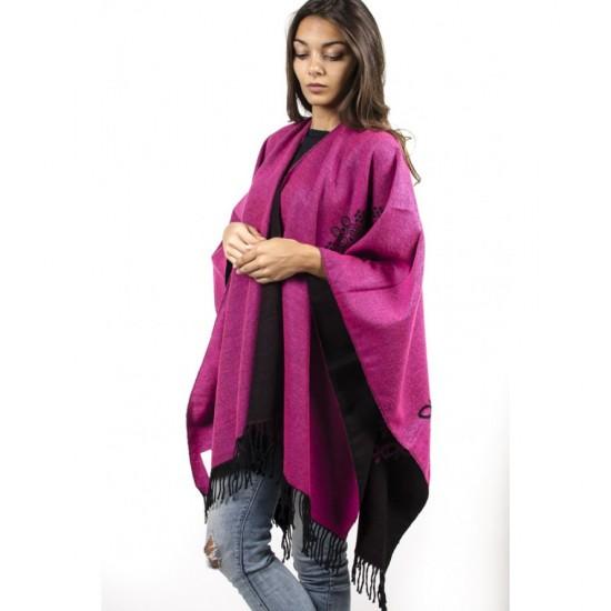 Дамски двулицев шал тип пончо светла циклама