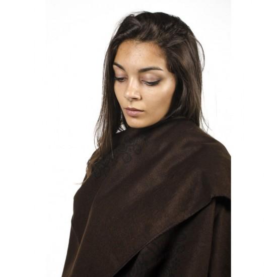 Дамски двулицев шал тип пончо кафяв