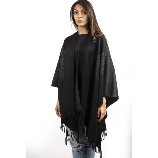 Дамски двулицев шал тип пончо тъмносив