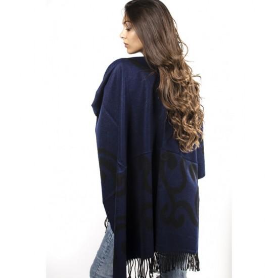 Дамски двулицев зимен шал тип пончо тъмносин