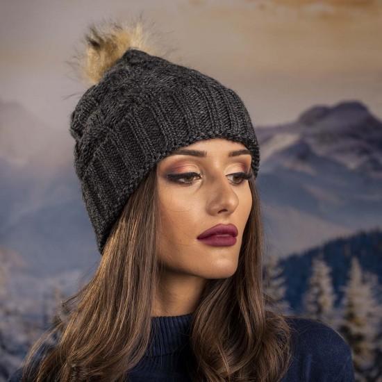 Дамска зимна шапка графит