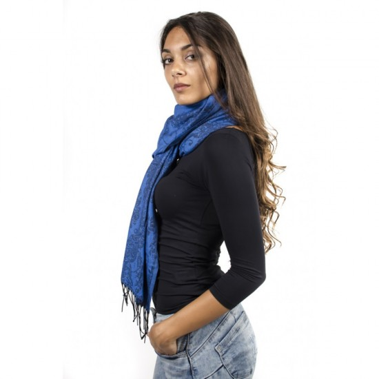 Син дамски зимен шал