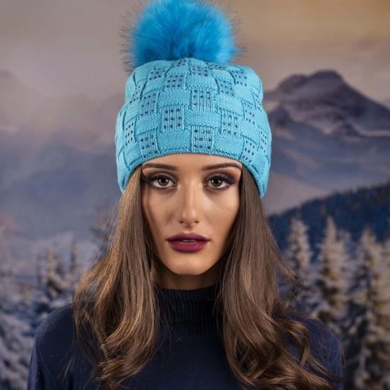 Плетена дамска зимна шапка светлосиня с Камъчета