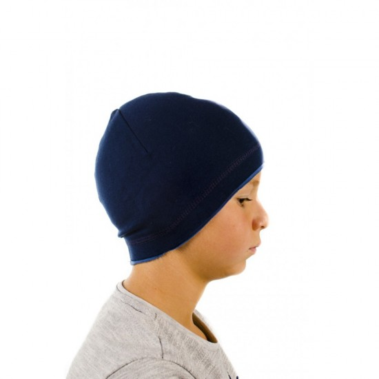 Тъмносиня детска шапка за момчета