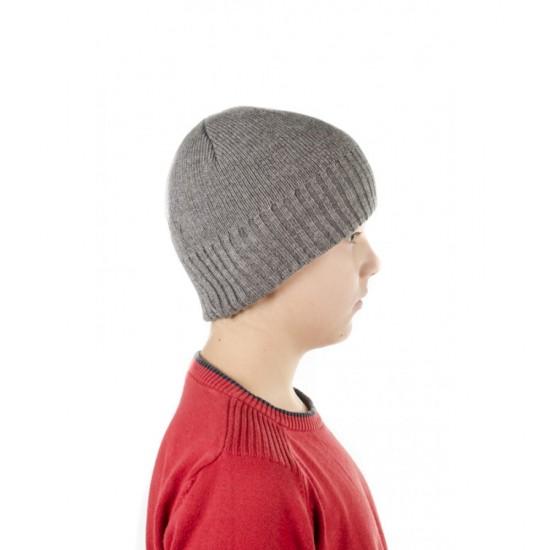 Сива детска зимна шапка за момчета с полар