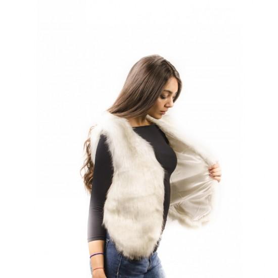 Дамски бял зимен елек
