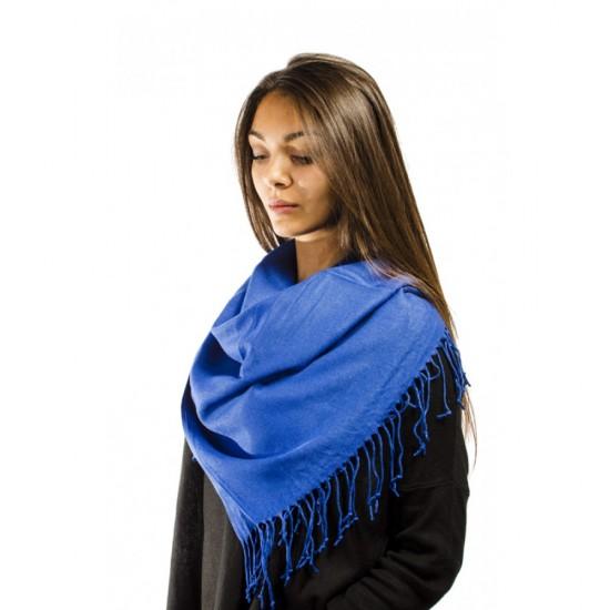 Тъмносин дамски едноцветен шал